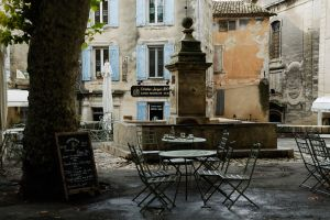 place with water fountain and Cafes in Gordes, Luberon, Provence, France